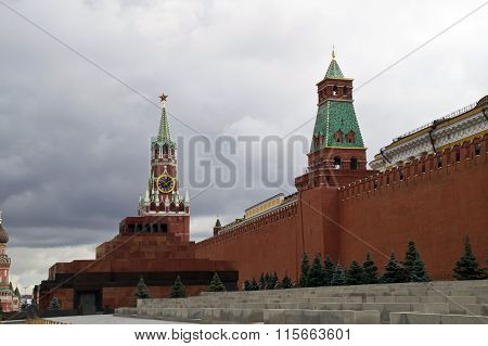 Spasskaya Tower, the Mausoleum of Lenin and Kremlin wall in Moscow.