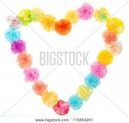 Flowers Made From Paper Craftwork In Heart Shape