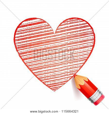 Red Pencil and Heart Drawing