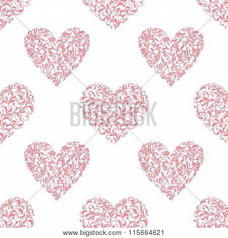 Seamless Pattern With Hearts From Floral Tracery On A White Background