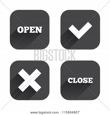 Open and Close icons. Check or Tick. Delete sign