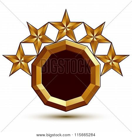 Geometric Vector Classic Golden Element Isolated On White Backdrop, Dimensional Decorative Stars, Sh