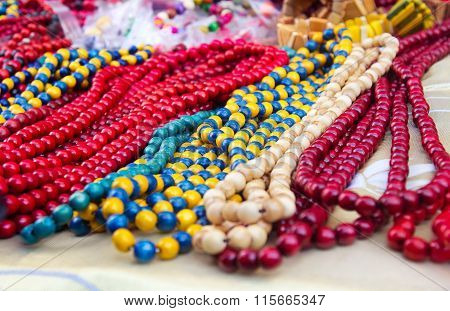 Ethnic Wooden Multicolored Necklaces At Market