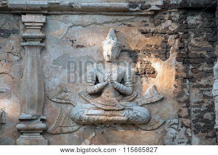 Ancient Thai art on Maha Chedi in Wat Jhet Yot,Thailand.