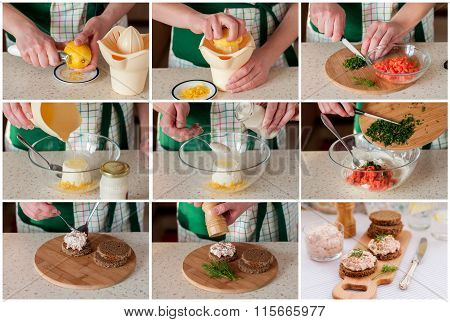 A Step By Step Collage Of Making Smoked Salmon Pate