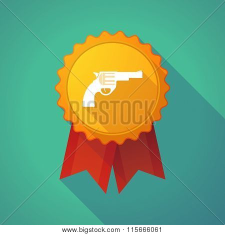 Long Shadow Badge Icon With A Gun