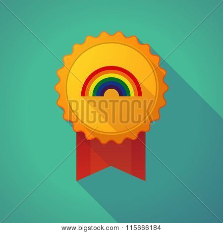 Long Shadow Badge Icon With A Rainbow