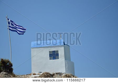 Small Chapel, Flag And Sky