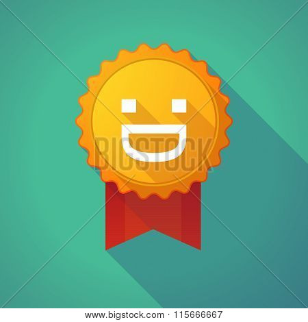 Long Shadow Badge Icon With A Laughing Text Face