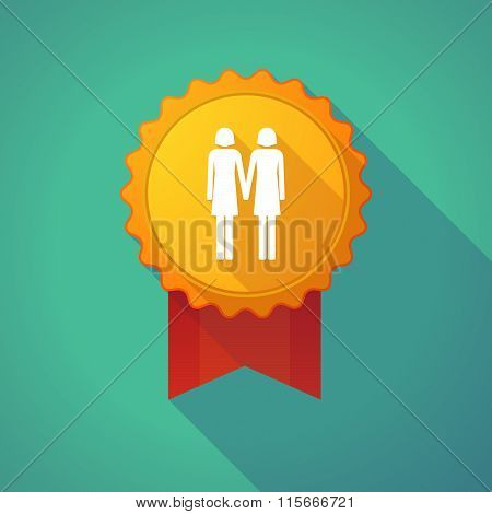 Long Shadow Badge Icon With A Lesbian Couple Pictogram