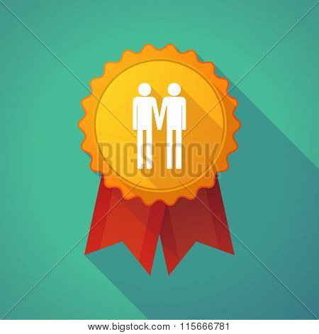 Long Shadow Badge Icon With A Gay Couple Pictogram