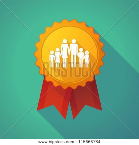 Long Shadow Badge Icon With A Large Family  Pictogram