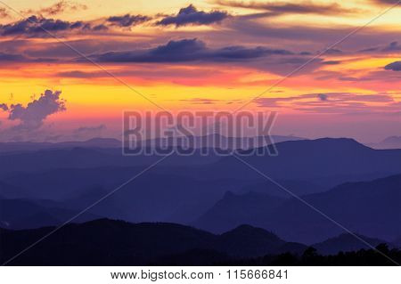 Sunset in hills. Pothamedu, Munnar, Kerala, India,