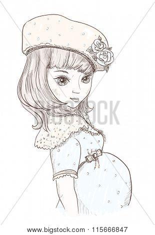 Retro graphic line portrait of a pregnant woman, comic style.
