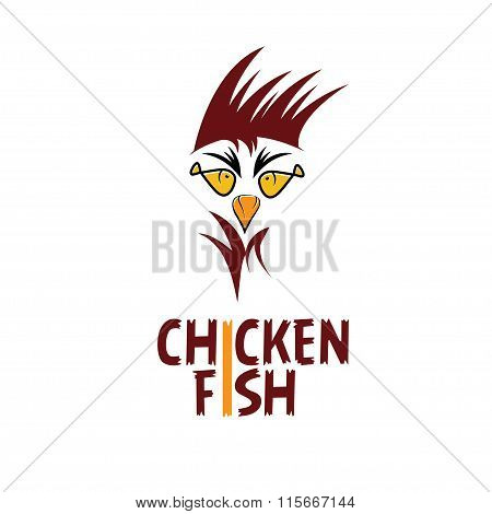 Chicken With Fish Eyes Concept Fast Food Restaurant