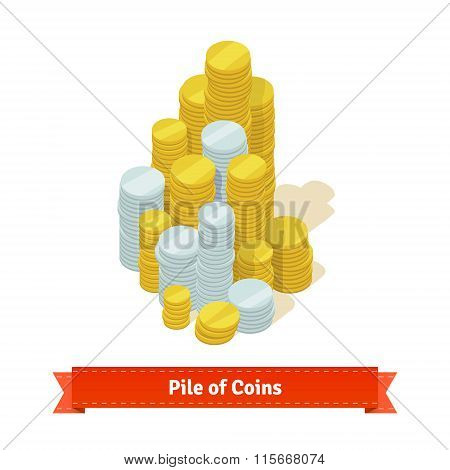 Big pile of coins. Gold and silver