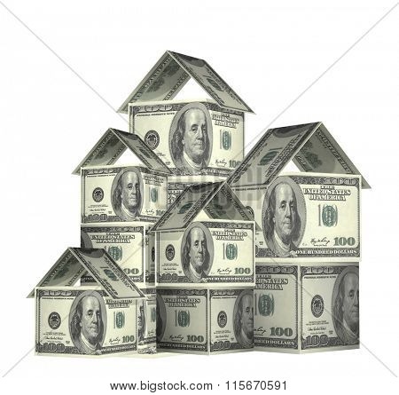 Three houses from dollars banknotes. Isolated on white background