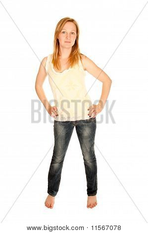 Young Woman In Top And Blue Jeans