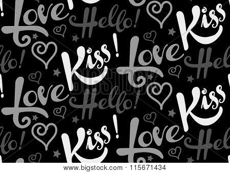Love, kiss, hello, text, seamless pattern, grey