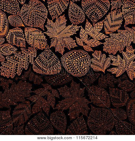 Red golden pattern with different tree leaves such as oak and maple, chestnut and birch, aspen and l