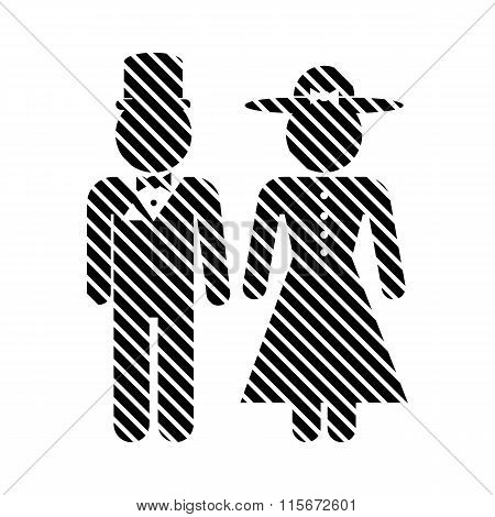 Male And Female Restroom Symbol Sign.