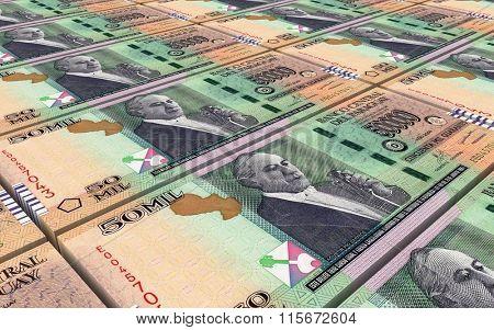 Paraguyan guarani bills stacks background. Computer generated 3D photo rendering.