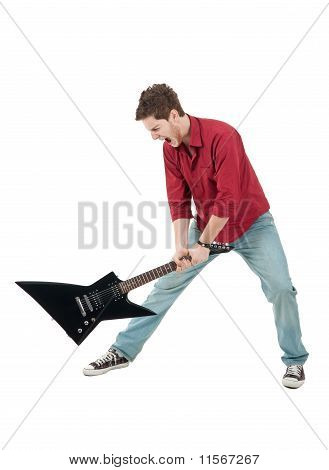 Angry Man Holding A Guitar