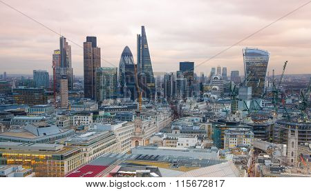 City of London at sunset and first nights lights