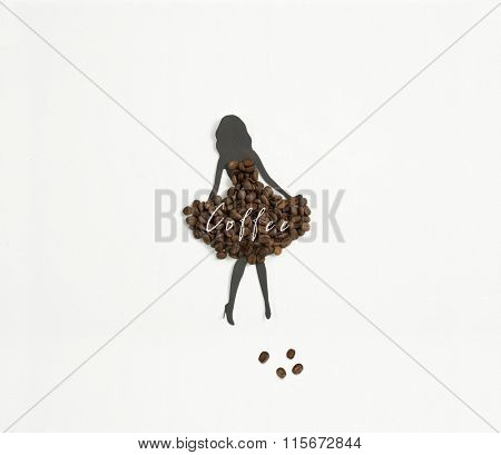 Meet coffee ! A woman's silhouette wearing a dress of coffee beans on white background