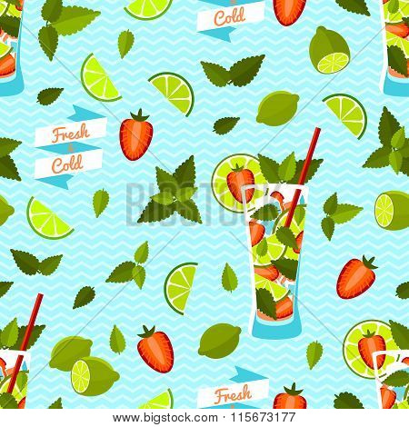 Strawberry Mojito Seamless Pattern. Vector illustration, eps10.