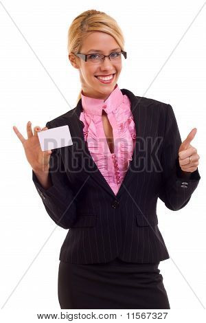 Young Business Woman Presenting Card