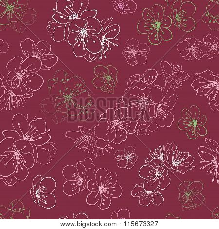 Seamless Pattern Of Cherry Blossoms