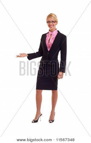 Young Business Woman präsentiert