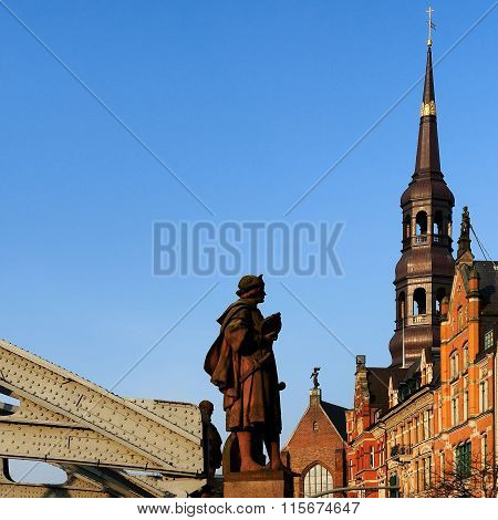Statue Of Columbus Near Kornhausbrücke, Hamburg, Germany