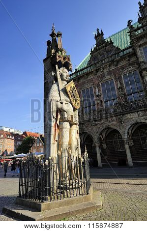 Statue Of Roland On The Market Square, Bremen, Germany