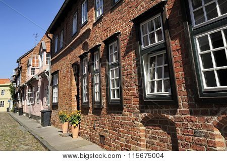 Nice Street With Old Brick Houses, Lubeck, Germany