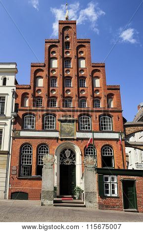 Schiffergesellschaft  Building With Crow-stepped Gable, Lubeck,