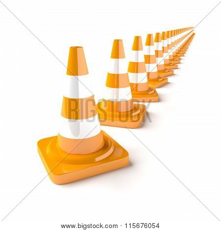 Line Of Traffic Cones On The White Background