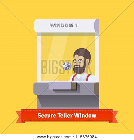 Modern secure teller window with a working clerk