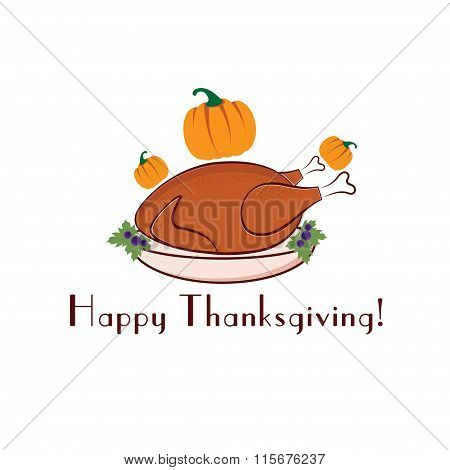 Happy Thanksgiving Illustration With Turkey And Pumpkins