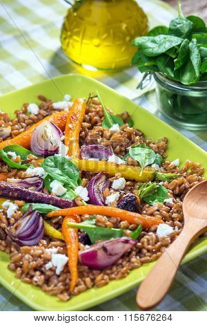 Salad with Spelt, Vegetable and Feta