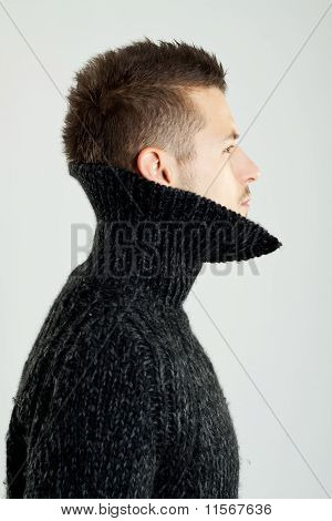 Model Wearing A Wool Shirt