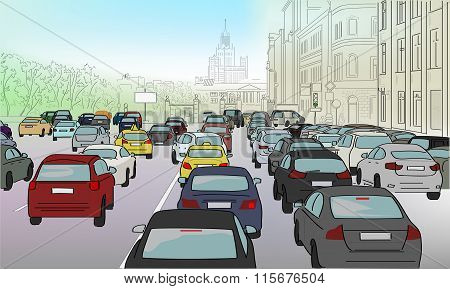 Traffic Jam Of Cars