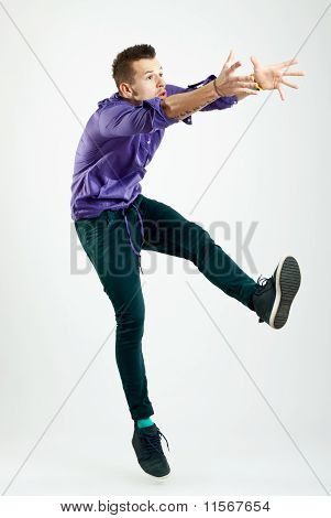 Handsome Young Man Model Jumping