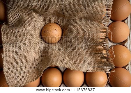 Egg On Burlap Cloth