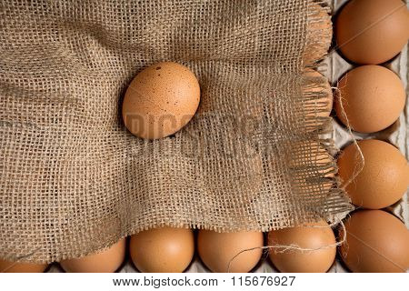 Egg On Burlap Cloth Paper Tray