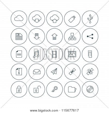 Set Of Vector Thin Line Cloud Storage Icons. File Types, Storage, Security, Link