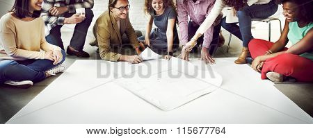 Business People Meeting Discussion Blueprint Architect Concept