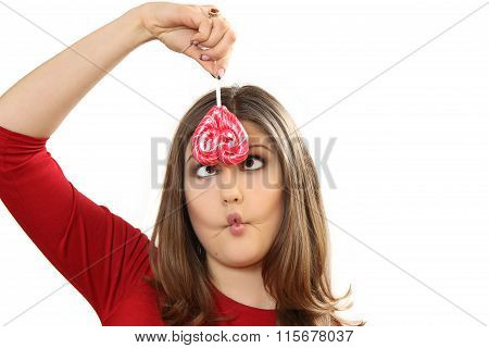 The Young Woman With Lollipop Wriggles And Makes Faces