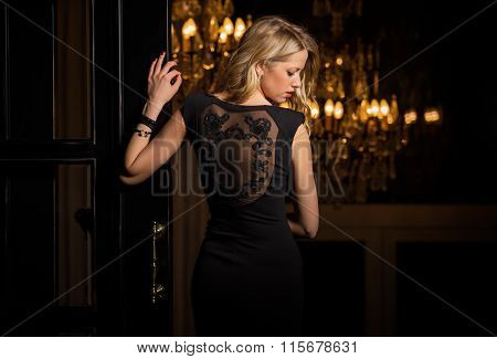 Woman in little black cocktail dress